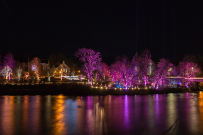 Coloured lights, soft water, night photography